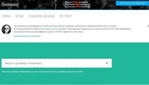 «Канцелярська сотня» запустила сайт з деклараціями чиновників