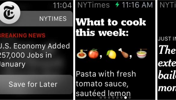 The New York Times готуватиме новини довжиною в одне речення спеціально для Apple Watch