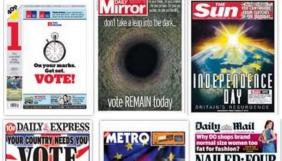 Як виглядають перші шпальти британських газет в день референдум щодо Brexit