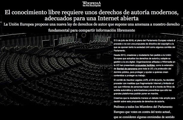 «Вікіпедія» бастує проти європейської директиви про авторське право (Оновлено)