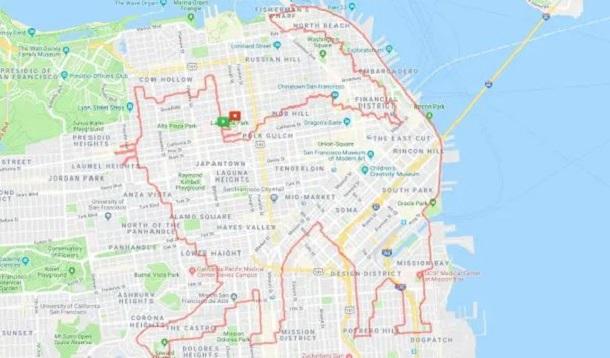 Американський бігун перетворює у мистецтво свої маршрути на карті