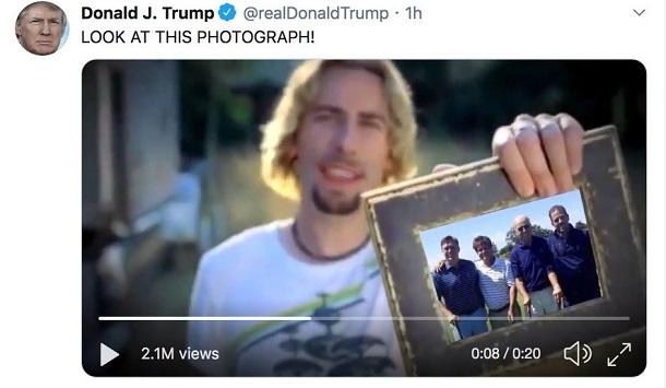 Продажі пісні гурту Nickelback різко зросли завдяки твіту Трампа
