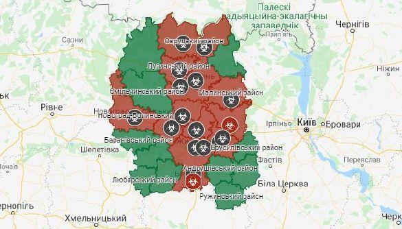Чумні квартали: Житомирська ОДА  оприлюднила карту з позначками вулиць, де мешкають хворі на COVID-19