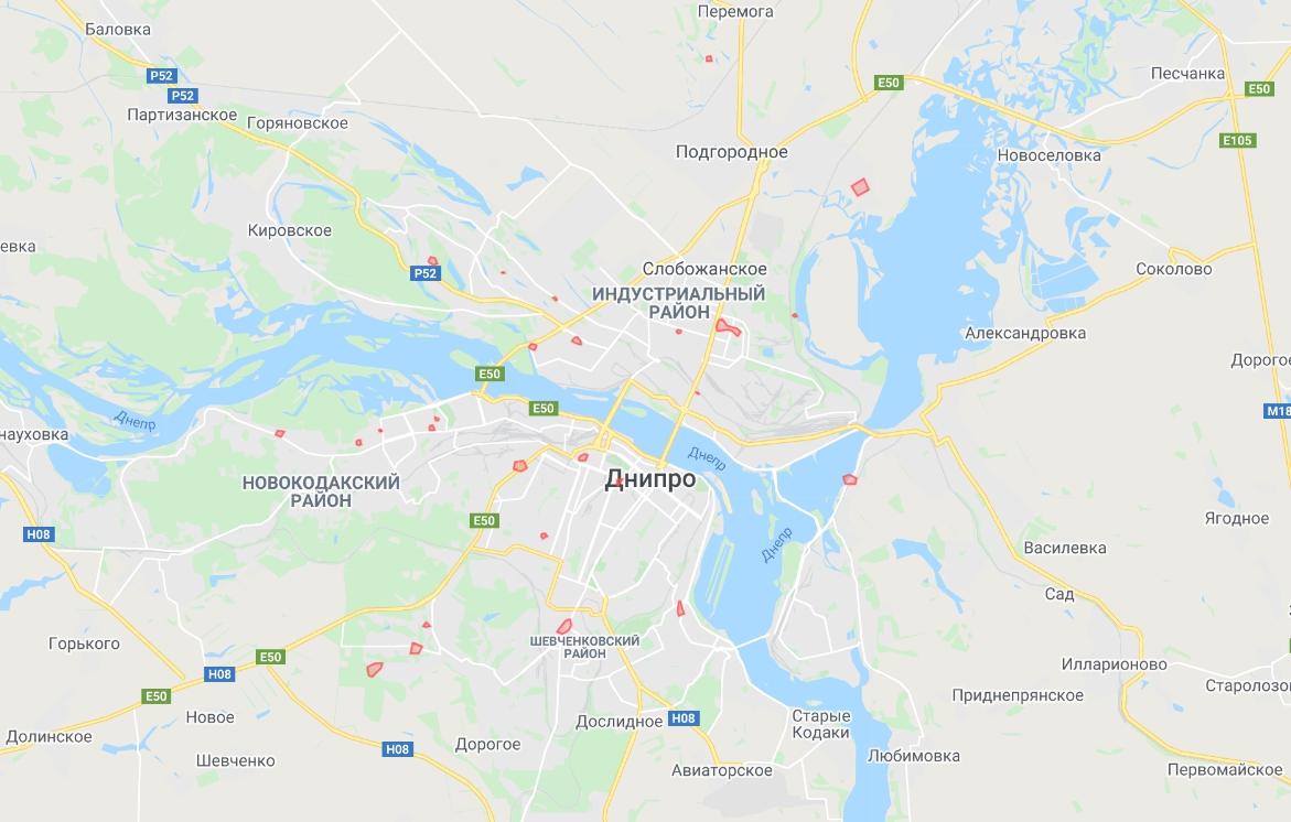 Мерія Дніпра опублікувала на сайті карту з позначками, де виявлено захворілих на коронавірус
