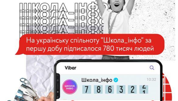 На спільноту «Школа інфо» у Viber за першу добу підписалися 780 тисяч користувачів