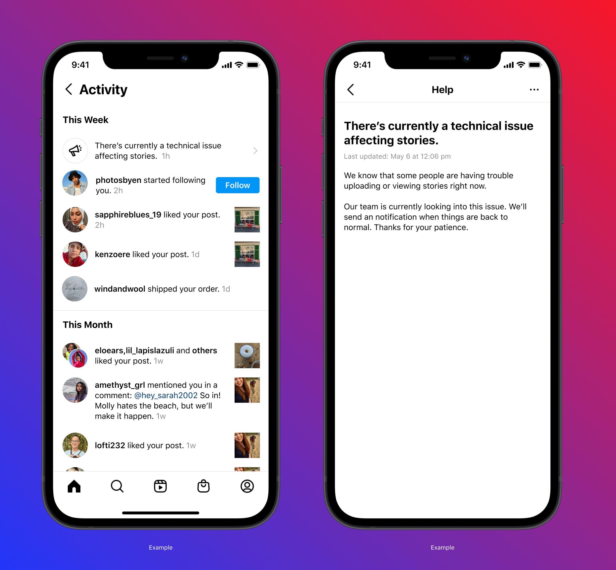 Instagram тестує функцію сповіщень про відключення та збої